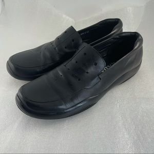 Prada Loafers Mens Size 44 Black Leather Slip On Shoes